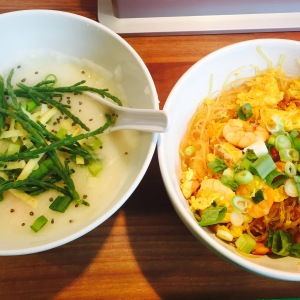 Congee and Singapore Rice Noodles